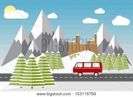 Vector minibus car, winter fir trees, mountains, castle, flat illustration. Winter beautiful scene, mountain road trip. Mini bus on road, snow winter scene.