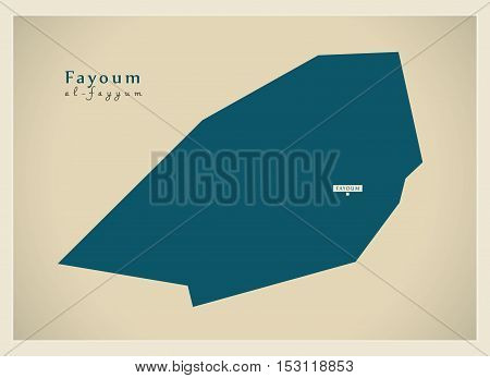 Modern Map - Fayoum EG vector high res