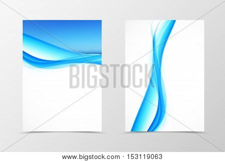 Front and back smooth wave flyer template design. Abstract template with blue lines in dynamic style. Vector illustration