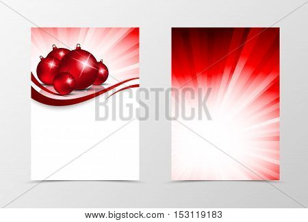 Front and back dynamic wave flyer template design. Abstract template with red lines and christmas balls in shiny vortex style. Vector illustration