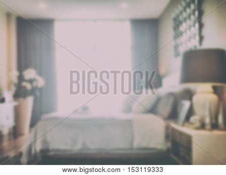 Blurred Background Bedroom In Modern Intrior Style