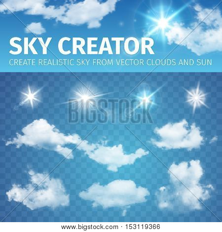Vector illustration of Sky creator. Set realistic clouds and sun.