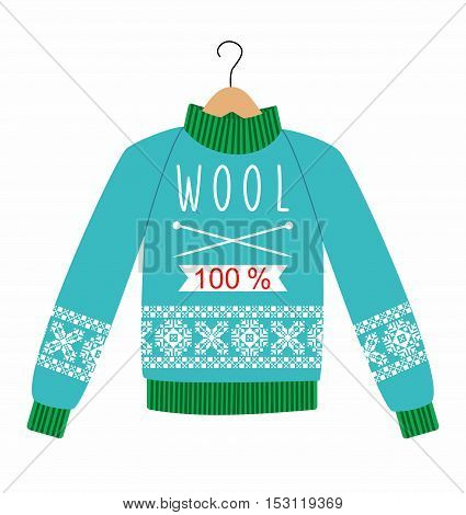 illustration sweater with a pattern on a hanger. Winter warm sweater with an ornament, sweet shot, jumper for knit, blue and green color.