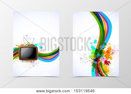 Front and back dynamic wave flyer template design. Abstract template with colorful lines with TV in grunge style. Vector illustration