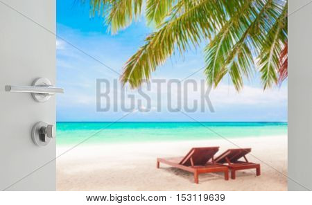 Opened White Door To Beautiful Beach With Beach Chairs Under Coc