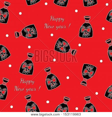 Winter gift seamless pattern with Happy new year text on the red background. Vector pattern for banner card invitation textile fabric wrapping paper.