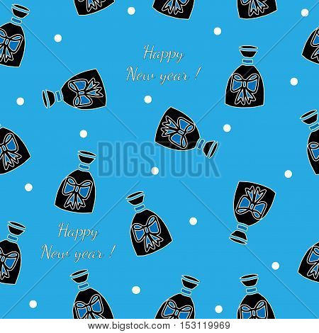 Winter gift seamless pattern with Happy new year text on the blue background. Vector pattern for banner card invitation textile fabric wrapping paper.