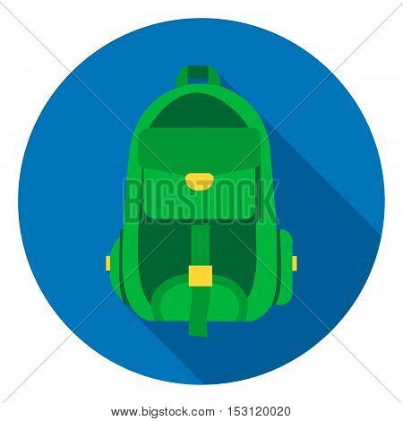 Hiking bag icon in flat style isolated on white background. Camping symbol vector illustration.