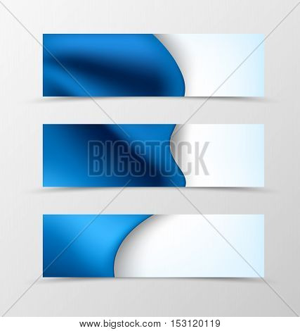 Set of header banner dynamic wave design with luxury blue cloth in elegant style. Vector illustration