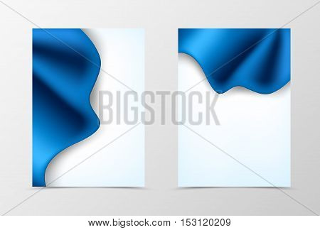 Front and back dynamic wave flyer template design. Abstract template with luxury blue cloth in elegant style. Vector illustration