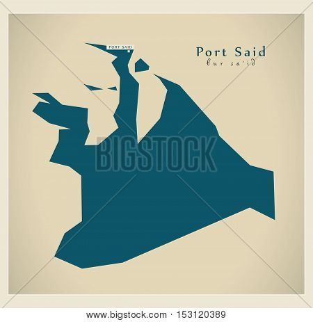 Modern Map - Port Said EG vector high res
