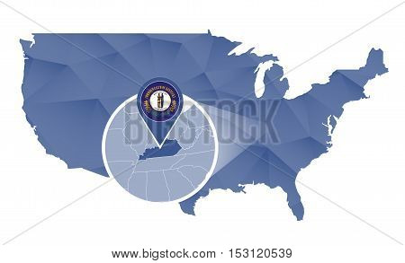 Kentucky State Magnified On United States Map.