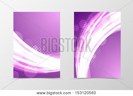 Front and back dynamic wave flyer template design. Abstract template with bright glowing lines, transparent circles and halftone effects in shiny style. Vector illustration