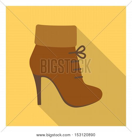 Woman boot icon in flat style isolated on white background. Clothes symbol vector illustration.