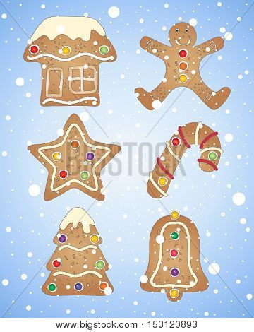 an illustration of gingerbread shapes decorated in a seasonal theme on a blue and white snowflake background