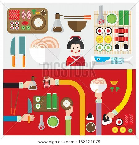 vector set sushi food japan symbol hand and arm