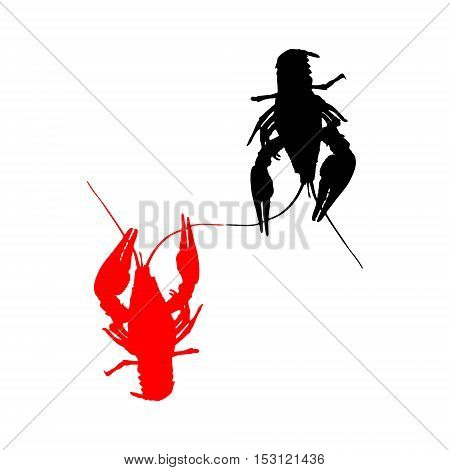 Crawfish silhouette. Isolated on white background. Vector illustration.