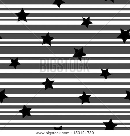 Line and star seamless pattern. Fashion graphic background design. Modern stylish abstract texture. Monochrome template for prints textiles wrapping wallpaper website etc Stock VECTOR illustration