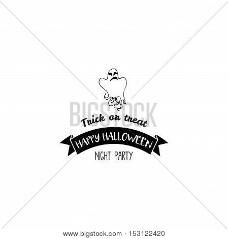 Happy Halloween Ghost. Label. Vector Illustration Invintation. Isolated On White