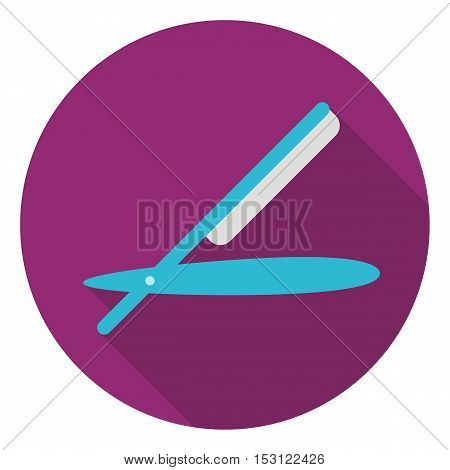 Straight razor icon in flat style isolated on white background. Hairdressery symbol vector illustration.