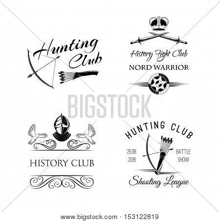 Fight Club emblem. Hunting club badge, logo. Warrior Decorations Set. Vector Illustration Isolated on White Background