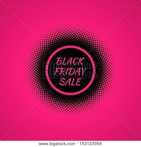 Black Friday Sale banner. Halftone effect vector illustration. Black dots on pink background. Design template with text Black Friday Sale.
