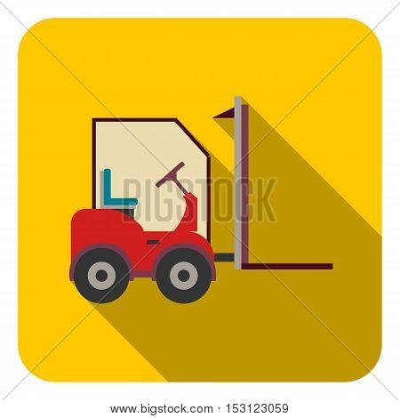 Forklift icon in flat style isolated on white background. Logistic symbol vector illustration.