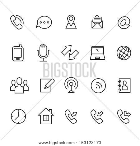 Communication line vector icons for business card. Email and chatting, contact and clock illustration
