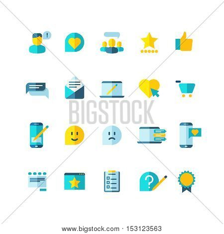 Customer service, clients loyalty, ranking, review flat vector icons set. User comment and opinion feedback illustration