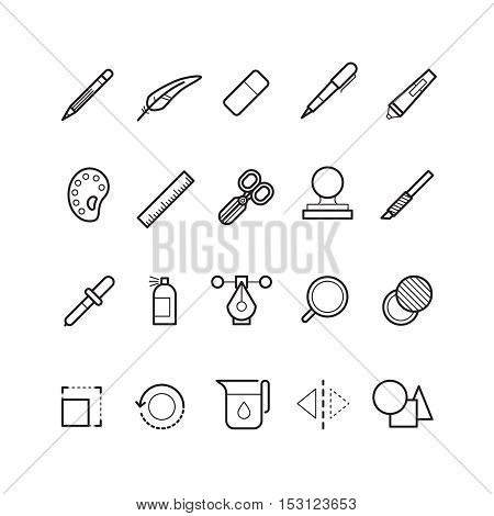 Drawing, design tools vector line text editor icons set for web ui app.Iinstrument icons for interface application illustration
