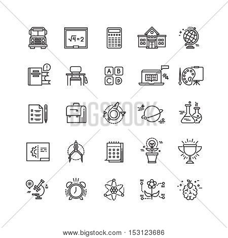 Education, school, science, learning thin line vector icons. Training in college, teaching chemistry illustration