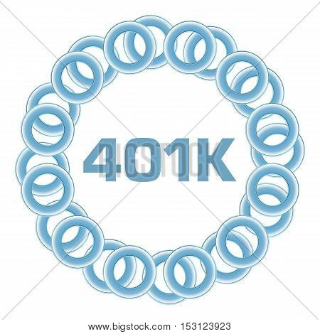 401k text written over blue rings circular background.