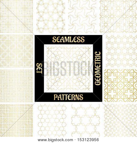 SET Golden arabic abstract geometric pattern with rhombus, triangles and squares. Vector illustration
