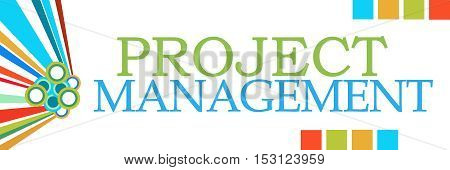 Project management text written over colorful background.