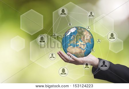 business hand holding globe earth concept business social networking. Elements of this image furnished by NASA