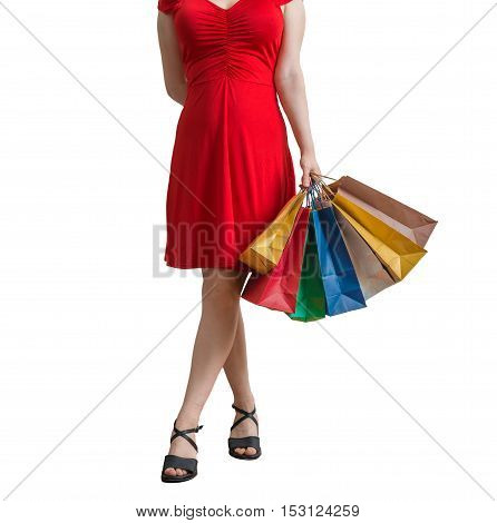 Young Pretty Woman Is Walking And Shopping. Isolated On White Ba