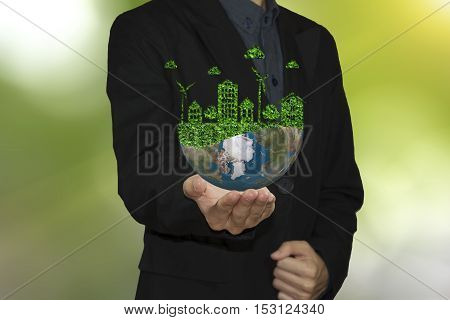 business hand holding global world environment. let's save the world ecology concept