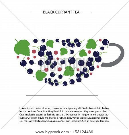 design in the form of a cup of tea. black currant and leaves. card template