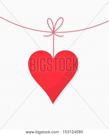 Hanging heart Valentine's Day card background illustration