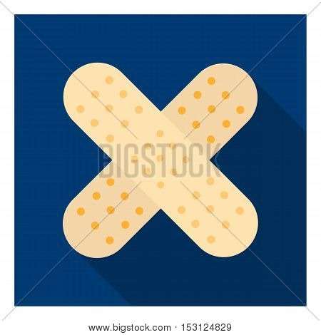 Adhesive plaster icon in flat style isolated on white background. Medicine and hospital symbol vector illustration.