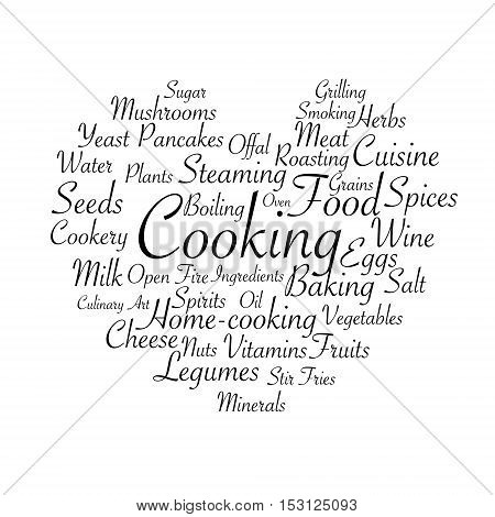 Cooking related words. Tag cloud for food industry. Typographic heart shaped vector illustration.