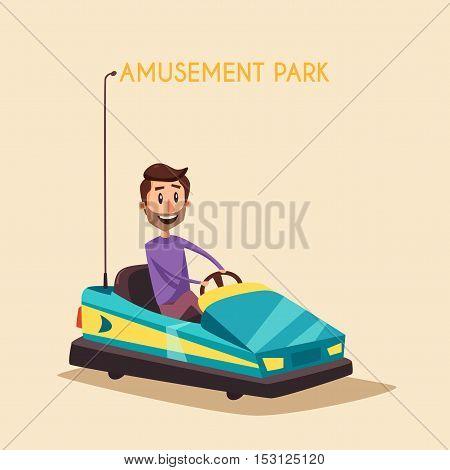 Amusement park. Cartoon vector illustration. Vintage style. Set of attractions. Dodgem car. Good emotions