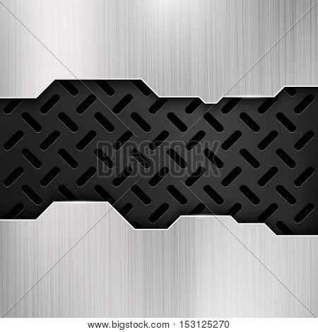 Industrial grunge metal, steel wall, gatel vector background. Silver panel with black perforated surface illustration