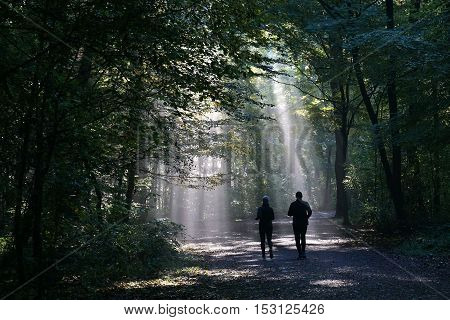 jogging couple silhouetted against sunbeam in dark foggy forest