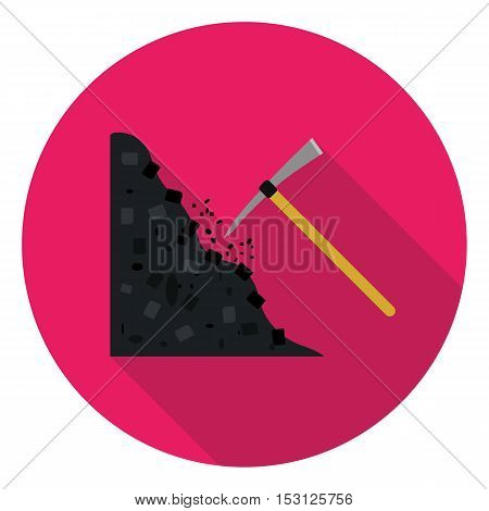 Pickaxe icon in flat style isolated on white background. Mine symbol vector illustration.