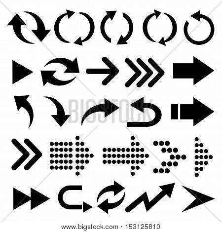 Arrow vector 3d button icon set black color on white background. Isolated interface line symbol for app web and music digital illustration design. Application sign element collection.