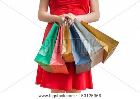 Woman Holds Many Colorful Bags In Hands. Shopping Concept. Isola