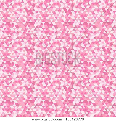 Geometric vector pattern with red and pink triangles. Seamless abstract background