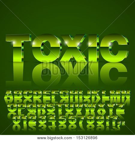 3D isometric alphabet vector toxic green colored font with alphabet letters and numbers