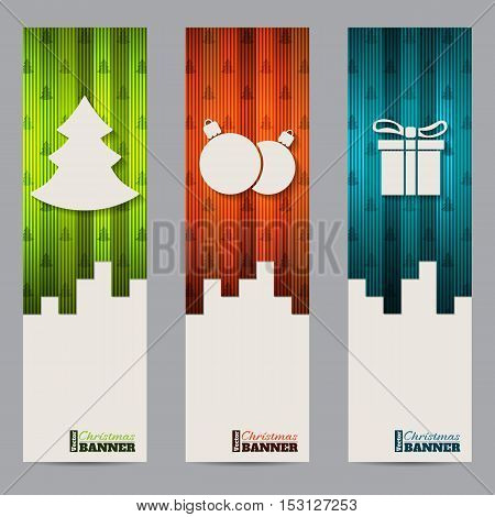 Christmas shopping label template designs with striped colorful elements
